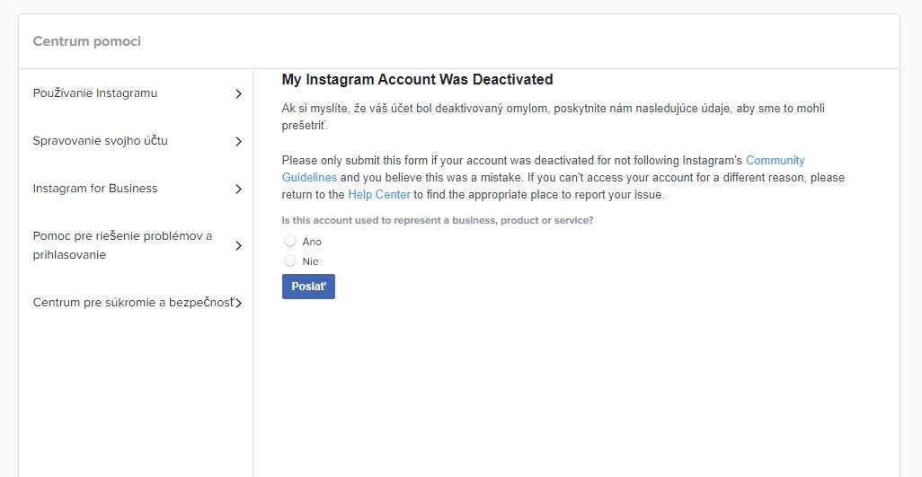 zablokovany ucet na instagrame vyriešené