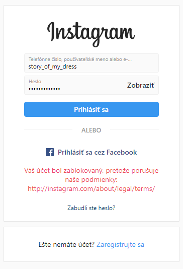 Zablokovaný účet na Instagrame