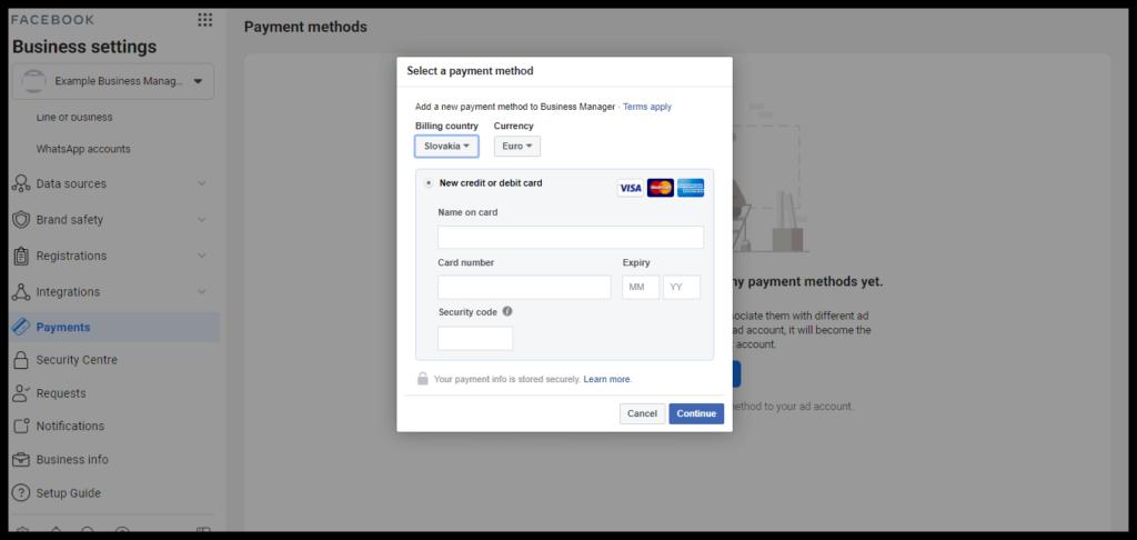 pridanie platobnej karty na facebooku