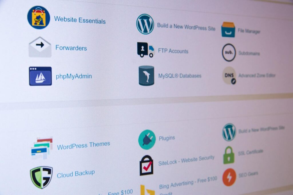 ovládací panel webhostingu
