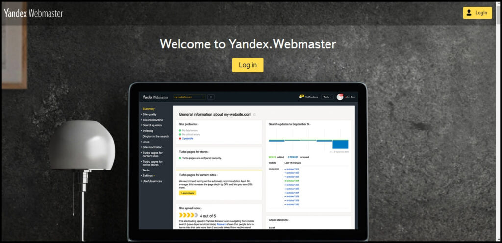 pridať stránku do yandex